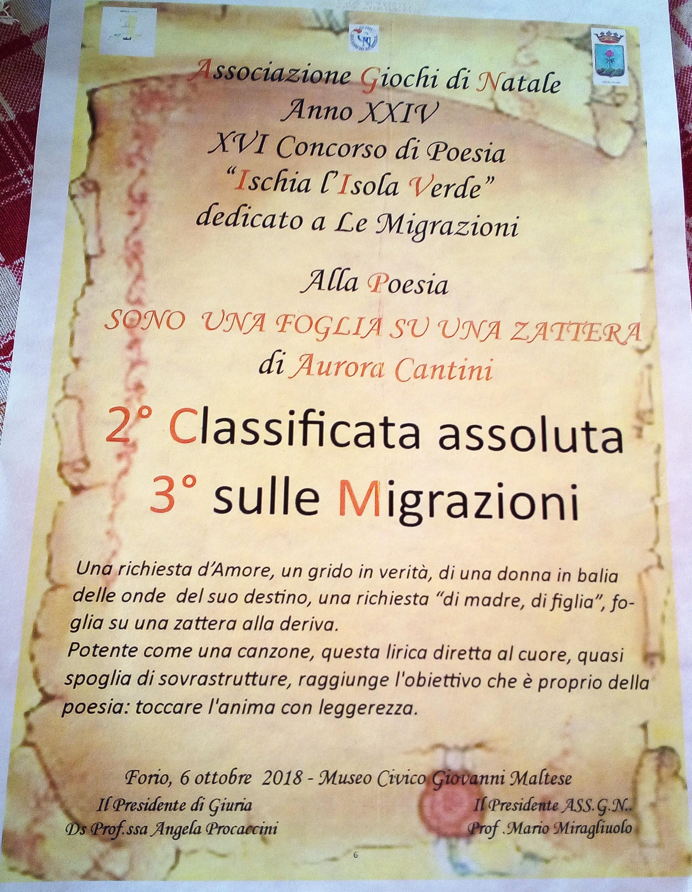 Premio Poesia Ischia Isola Verde Doppio Podio Per Aurora Cantini