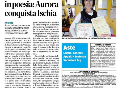 Premio Poesia Ischia Isola Verde, doppio podio per Aurora Cantini