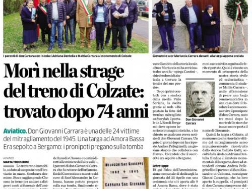Il mitragliamento al treno di Colzate nel 1945 e la storia ritrovata di don Giovanni Carrara