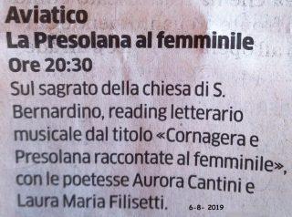 l'articolo su l'Eco di Bergamo per La Cornagera e la Presolana raccontate al femminile