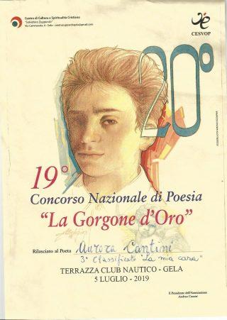 Diploma terzo poedio per la poesia della bergamasca Aurora Cantini